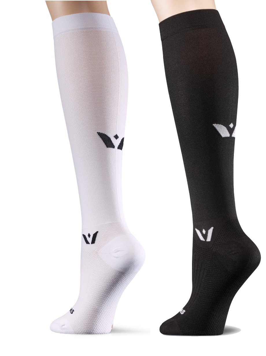 swiftwick compression knee socks in black or white