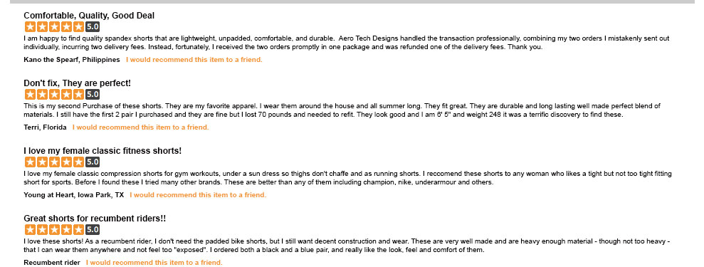customer review for spandex shorts