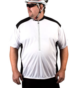 big man's white cycling t-shirt