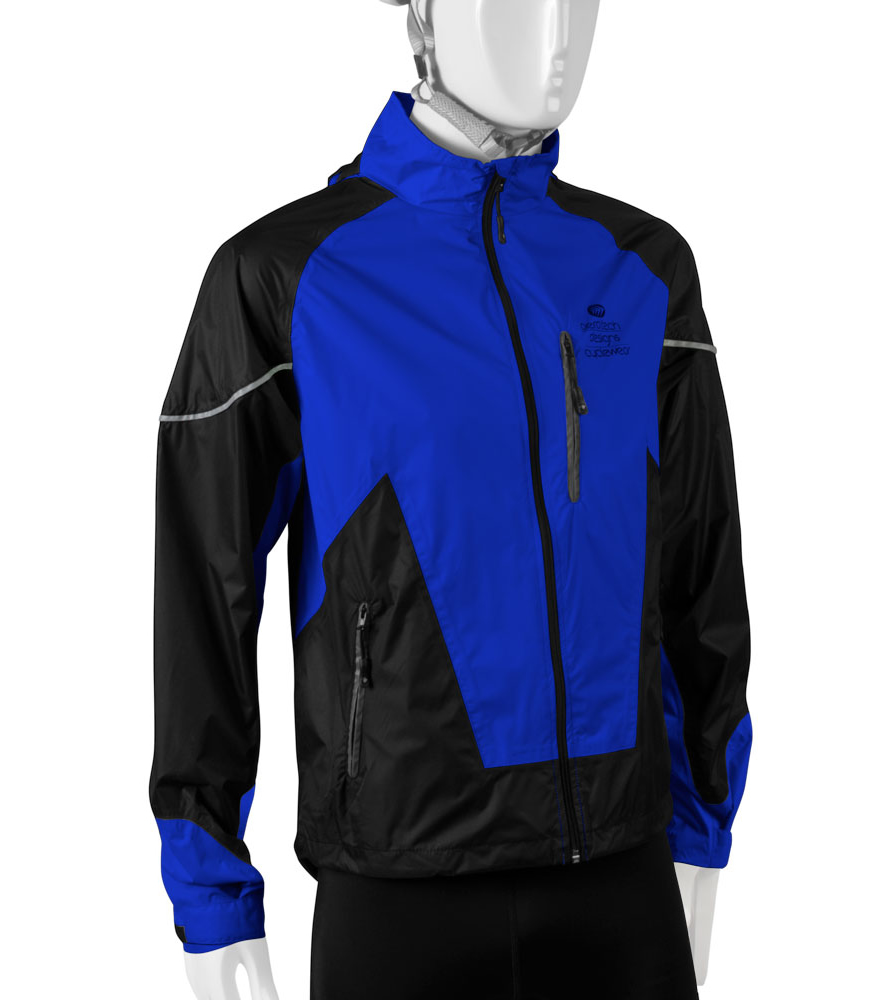blue rain jacket for cyclists