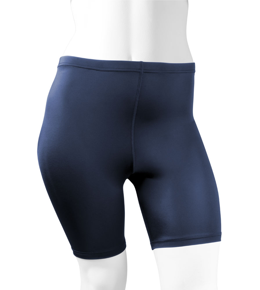 Plus size female workout stretch lycra compression shorts in navy and black. high quality excellent fit.