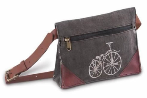 recycled canvas belt bags from mona b with streeter bike imprint