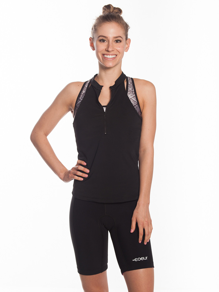 zipper front triathlon jersey top black with pockets