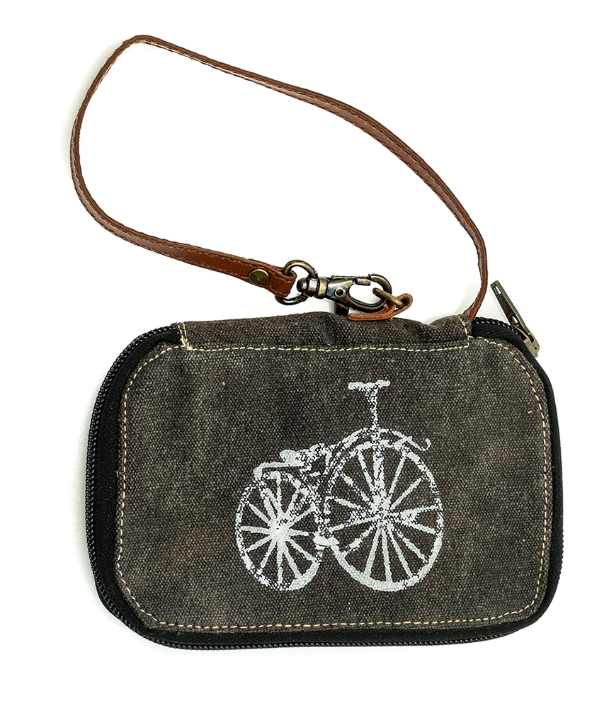recycled canvas wallet with bike image