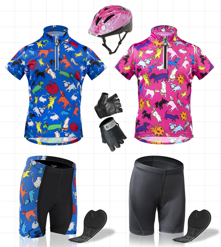 childrens bicycling clothing and gear for kids padded bike shorts, jerseys for bicycling, helmets all with bright print from aero tech designs cycle wear