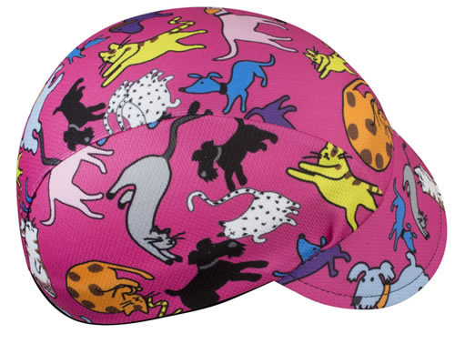 its raining cats and dogs pink bicycle cap