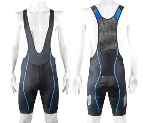 Black/Blue Tall man's bibshorts for cycling