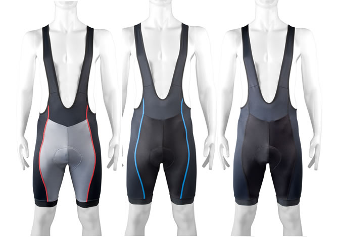 front view of elit bibshorts showing leg bands