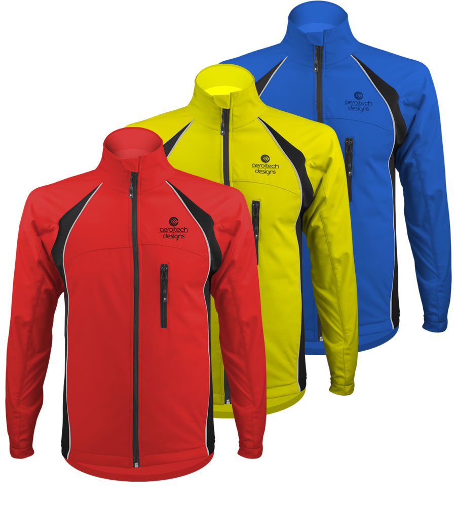 4 colors of softshell cycling jacket red, yellow blue