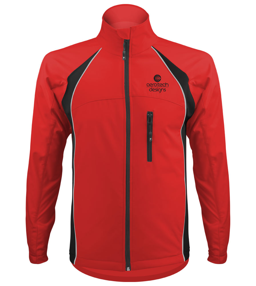 red softshell cycling jacket