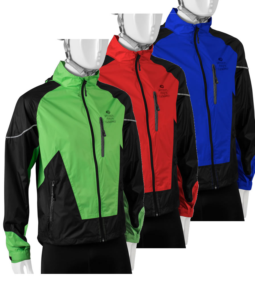 three colorways of cycling rain jacket