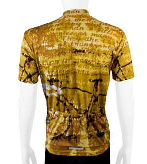 back view of designer cycling jersey