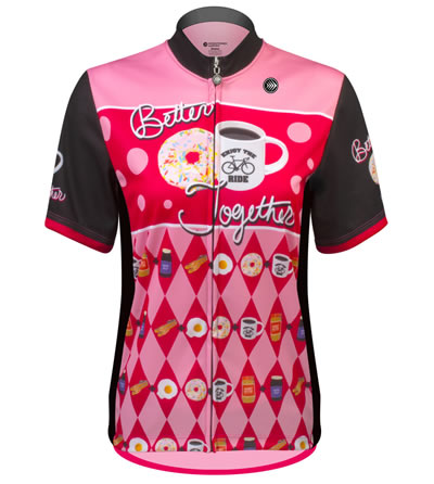 front view of pink coffee jersey