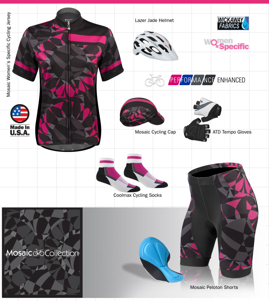 women's mosaic cycling aparel
