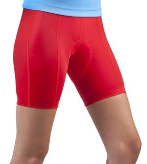 womens red padded bike shorts
