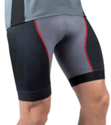 Men's silver and red elite padded shorts