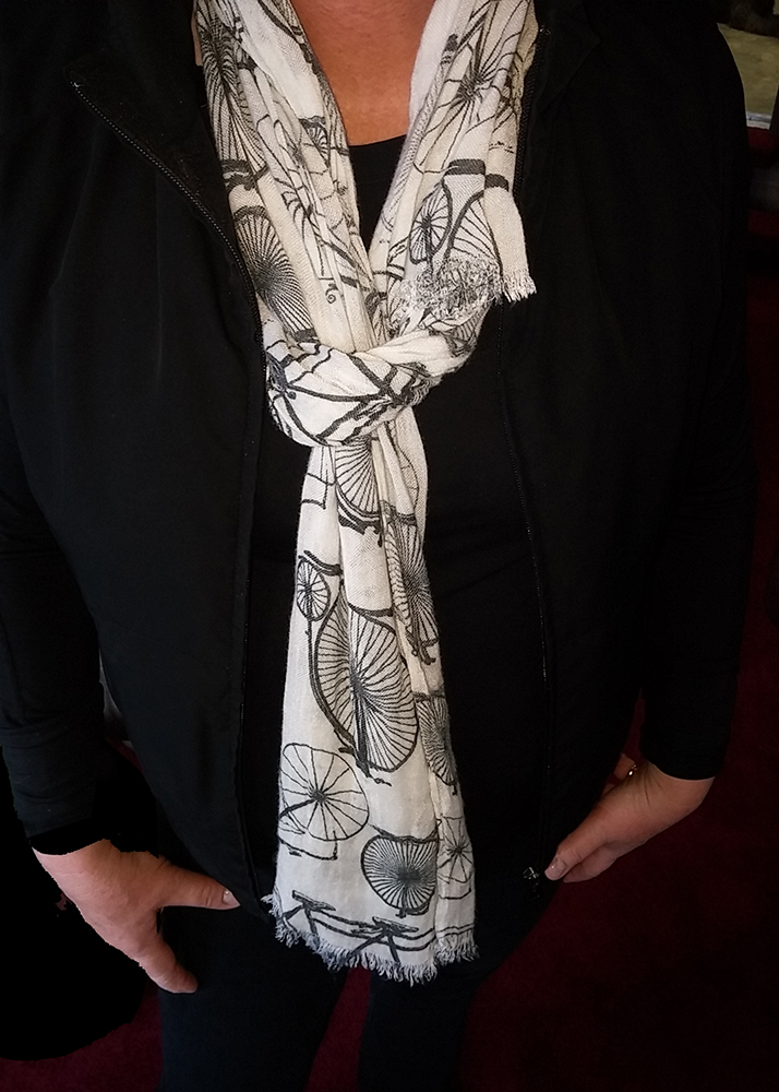 bicycle fashion scarf with imprinted bicycle art in black and white