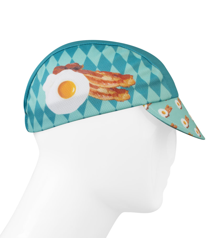 Aero Tech Rush Cycling Caps - Breakfast Time Bacon and Eggs