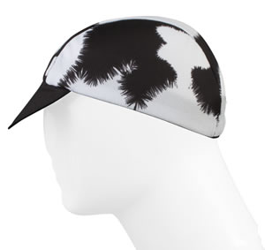 moo cycling cap - black and white cow print