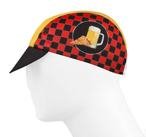 cycling cap side view checkerboard pizza and beer