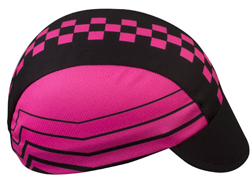 pink checkers cycling cap