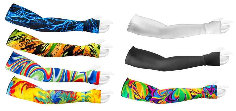 removable arm warmer sleeves aero tech design colorful prints and solid colors stay put removable sleeves with grippers and thumb holes in sizes xsmall small medium, large, xlarge, xxlarge