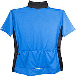 blue cycling jersey showing back pockets and reflective trim