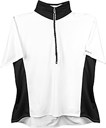 plus women's cycling jersey in black and white