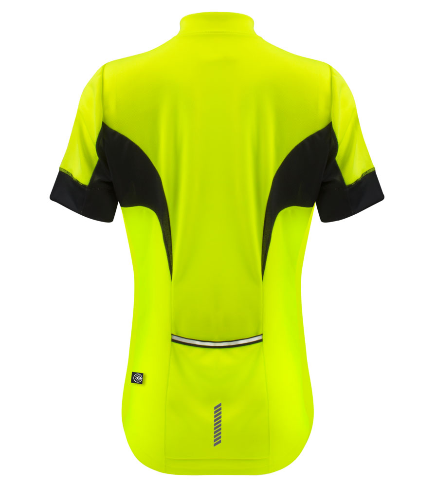 women's elite high end jersey for female bicyclists stay dry soft fabric reflectives and safety yellow with black trim designed for women American sizes