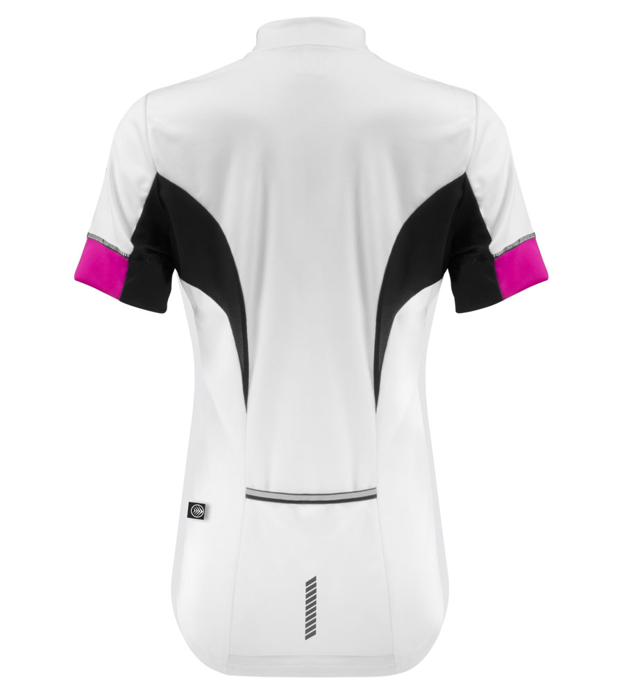 her  bike jersey for elite female riders white with black and pink stay dry soft wicking fabric bike jersey with zipper pocket