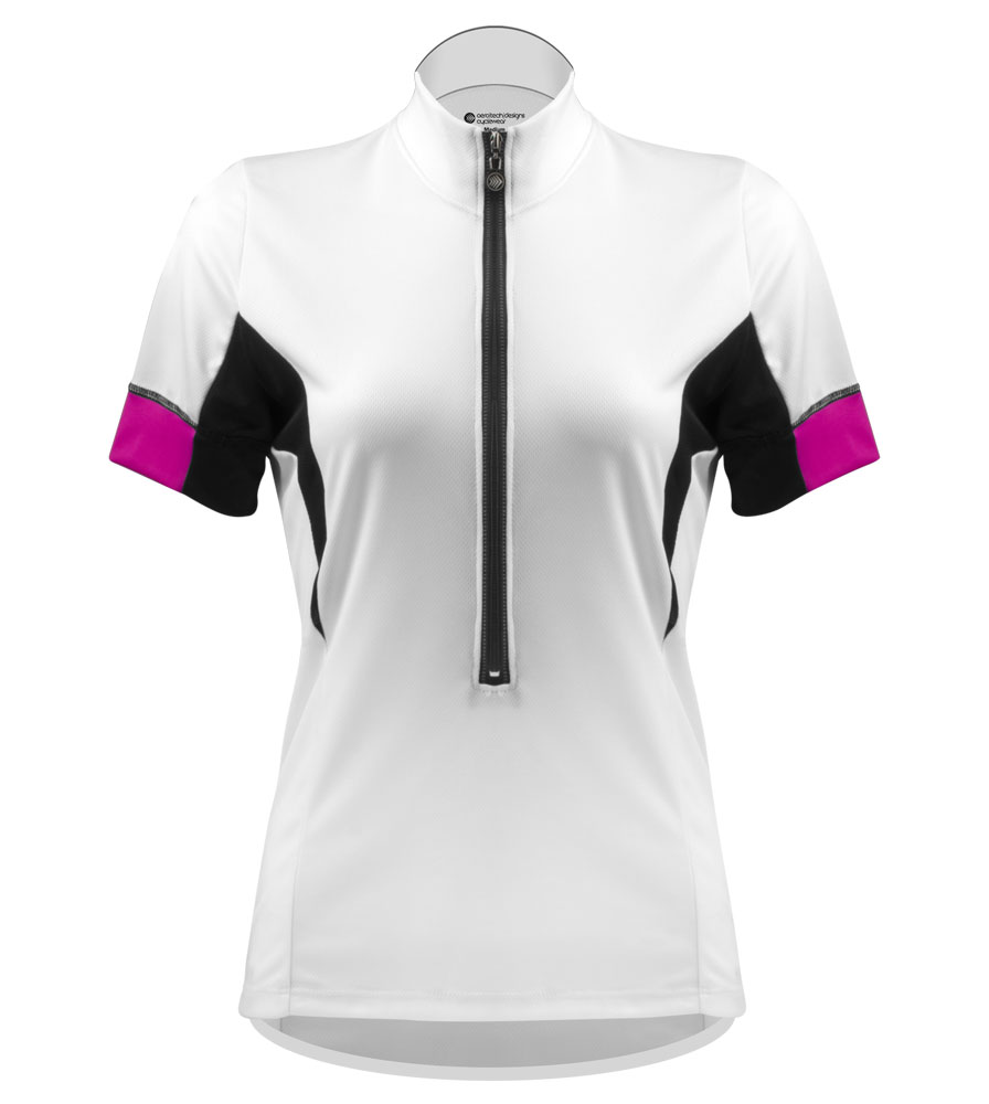 atd elite bright white bike jersey for women lady bike riders cool moisture wicking soft jersey fabric
