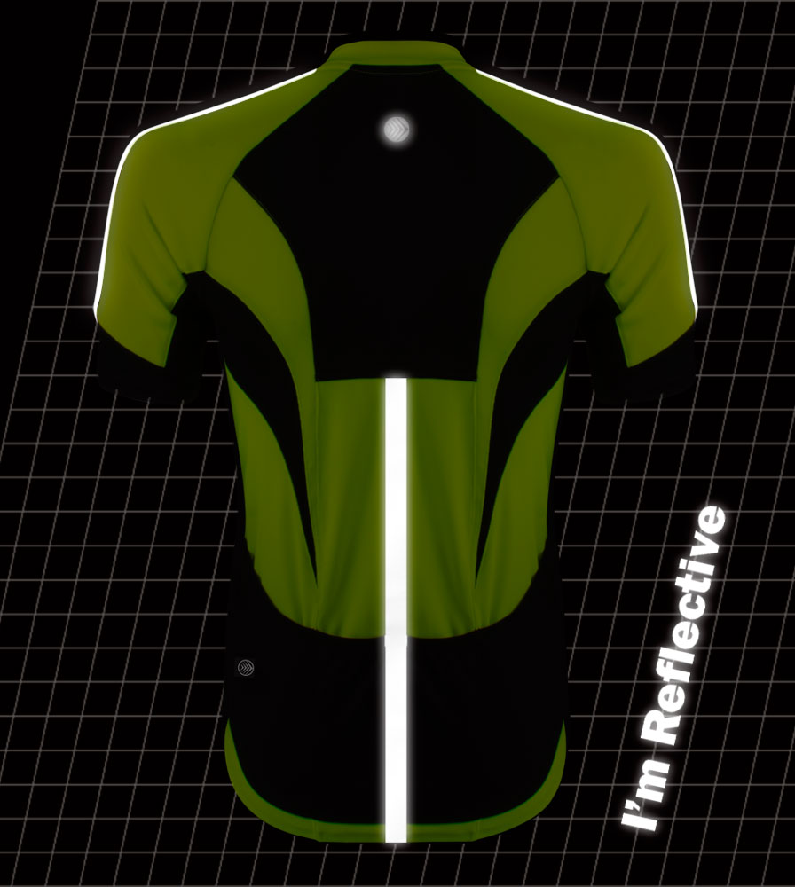 high visibility reflective safety bicycle jersey shown in dark back of jersey showing bright reflective safety features