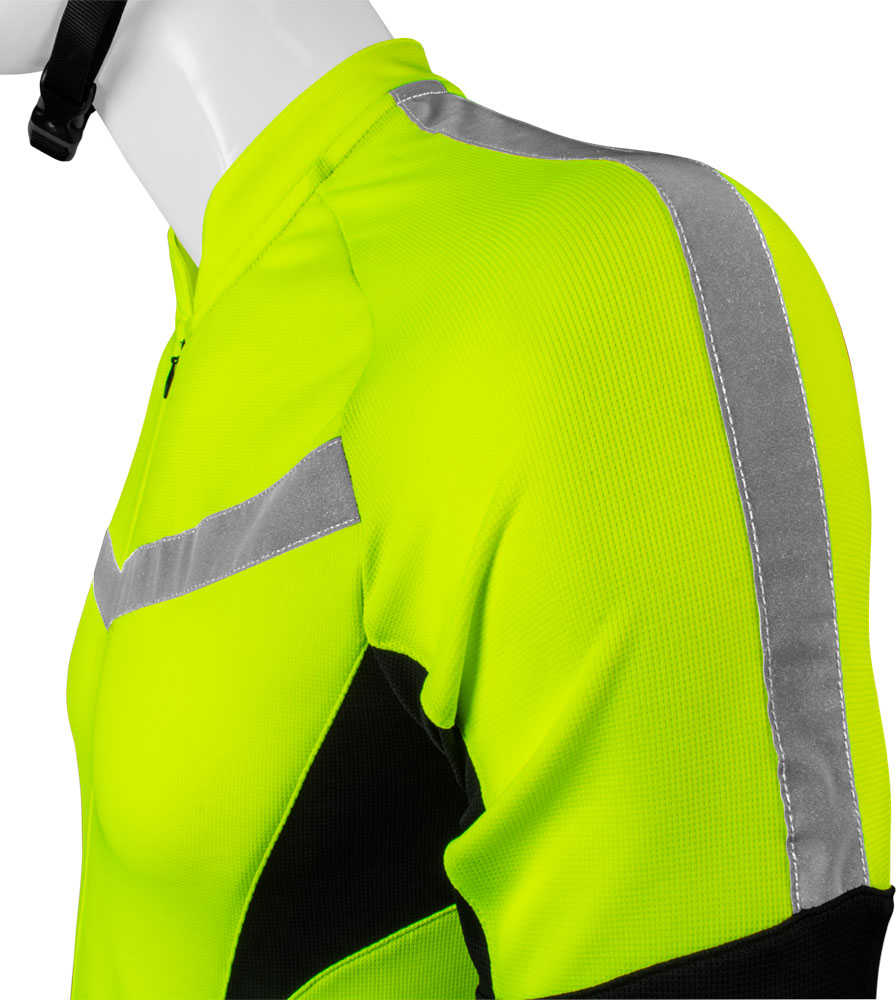 high visibility reflective safety bicycle jersey shown side view sleeve with safety reflective tape