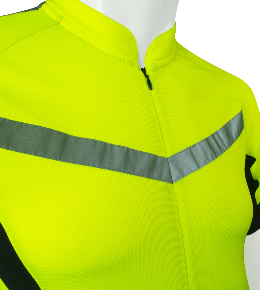 high visibility reflective safety bicycle jersey shown close up of zipper wide reflective tape for safety