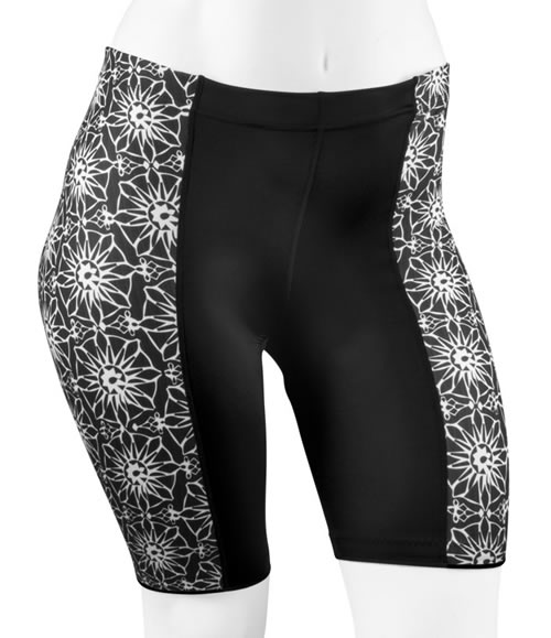 Plus Size Pizelle Cycling Shorts - Black and White Print