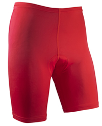 red triathlon shorts