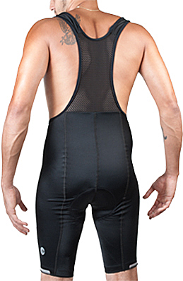 back view of extra long bibshorts