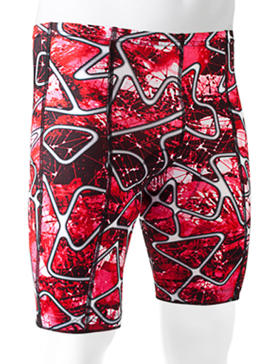 red swirley bike shorts