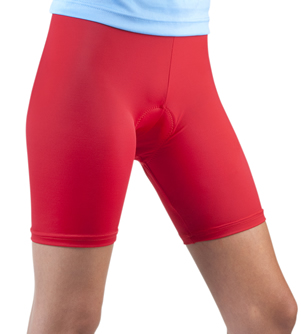 red classic padded female bike short