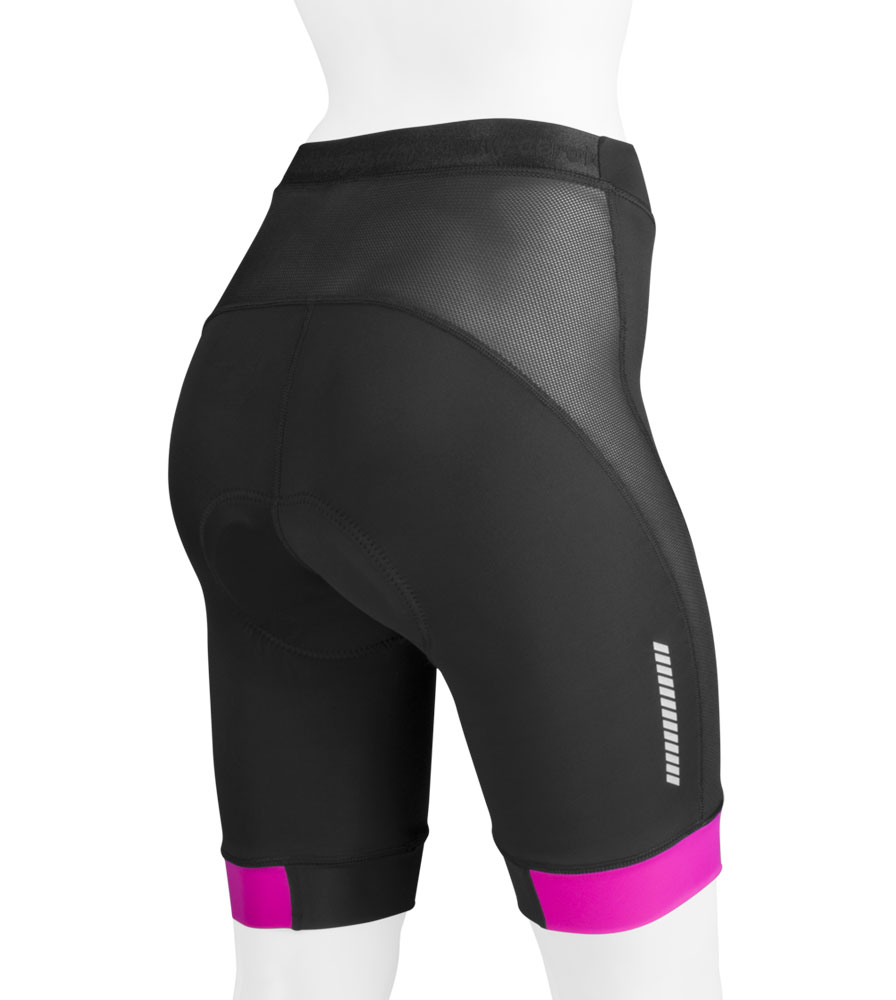 high performance ATD womens elite long distance padded bike shorts mesh and lycra