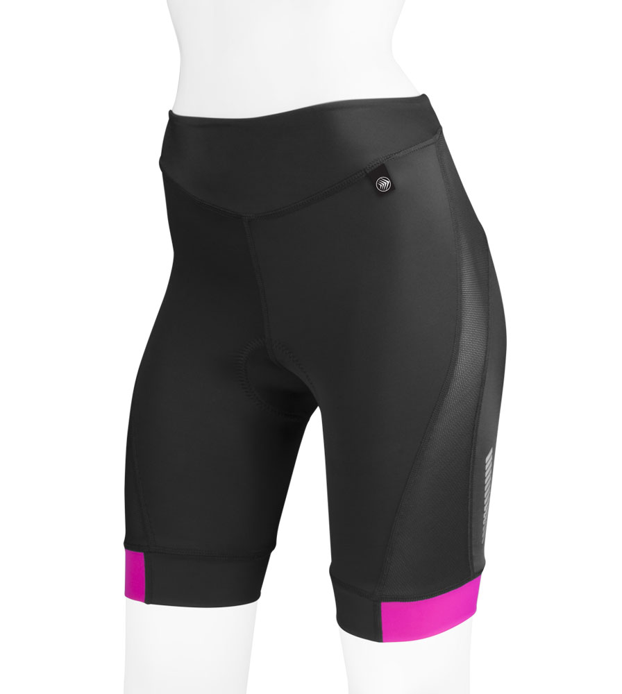 high performance ATD womens elite long distance bike shorts with wide waist band and wide leg bands