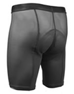 liner or underwear bike short worn under regular shorts and pants made of lighter stretchy fabric or mesh with a chamois padding for bike riders