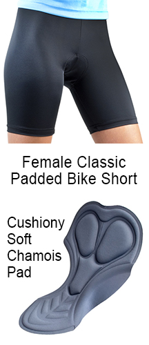 Female Classic Padded Bicycling Shorts are silky smooth and flatering available in black, blue and purple. Great for every bike rider on the road.
