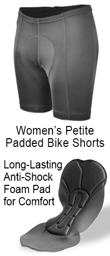 petite black bike shorts with shorter 5 inch inseam and comfortable foam pad