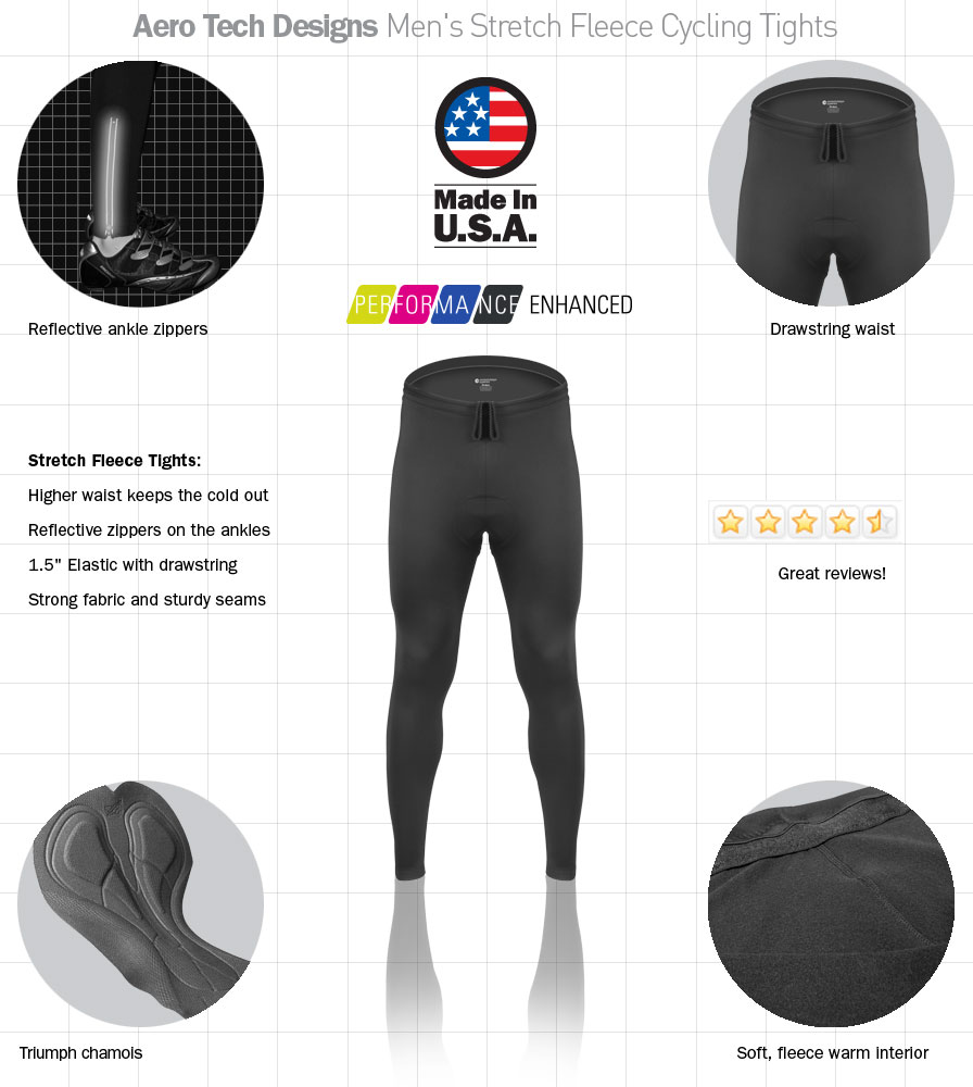 TALL Man's Stretch Fleece Cycling Tights