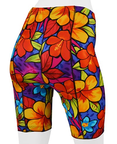 tropical print bike shorts