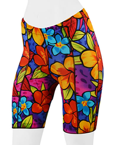 Women's wild tropical print bike shorts