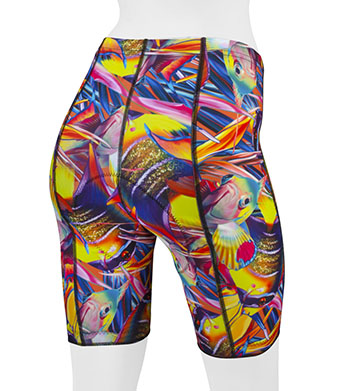 Tropical Fish padded bike shorts back